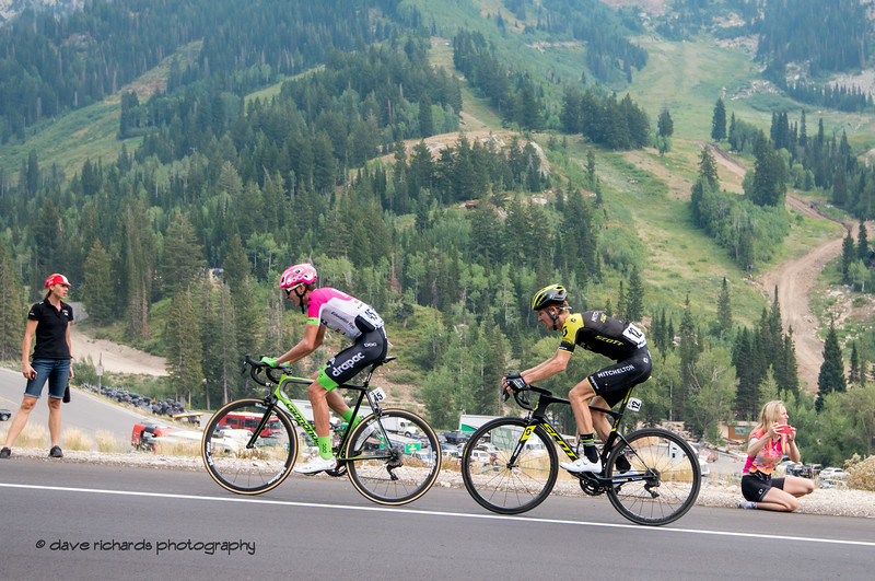 The steep terrain of Snowbird Ski Resort forms the backdrop for the riders on the final climb on Stage 5 Queen Stage - Canyons ski resort to Snowbird ski resort, 2018 LHM Tour of Utah cycling race (Photo by Dave Richards, daverphoto.com)
