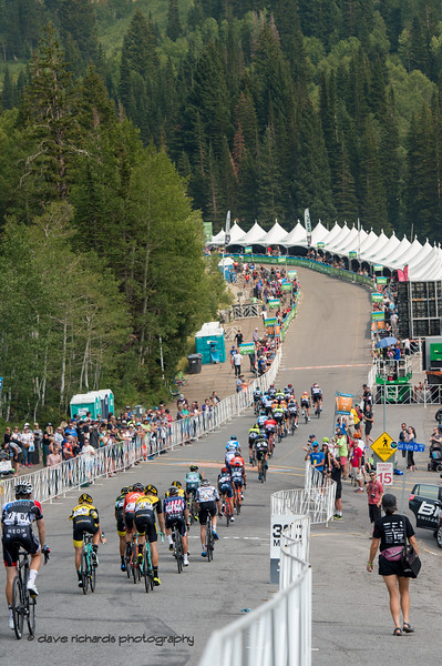 The grupetto arrives at the finish chute on Stage 5 Queen Stage - Canyons ski resort to Snowbird ski resort, 2018 LHM Tour of Utah cycling race (Photo by Dave Richards, daverphoto.com)