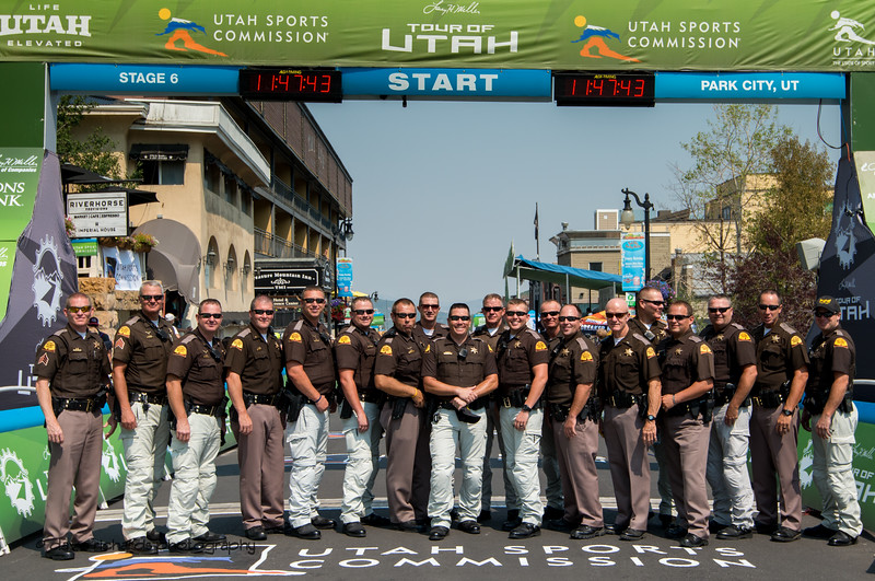 The Utah Highway Patrol squad who kepts up safe out on the road. Stage 6 - Park City, 2018 LHM Tour of Utah cycling race (Photo by Dave Richards, daverphoto.com)