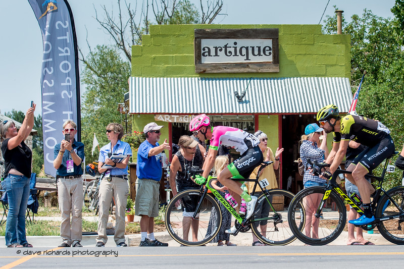 Breakaway riders roll thru the sprint point in the town of Kamas. Stage 6 - Park City, 2018 LHM Tour of Utah cycling race (Photo by Dave Richards, daverphoto.com)
