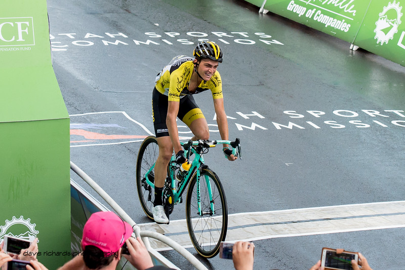 Sepp Kuss (Team Lotto NL-Jumbo) crosses the line to  win Stage 6 and the overall race. 2018 LHM Tour of Utah cycling race (Photo by Dave Richards, daverphoto.com)