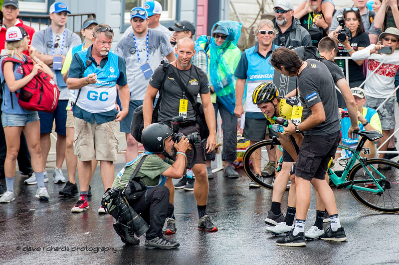 Sepp Kuss (Team Lotto NL-Jumbo) is greeted by his teammates and fans after winning Stage 6 - Park City, 2018 LHM Tour of Utah cycling race (Photo by Dave Richards, daverphoto.com)
