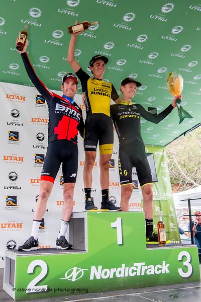 Stage 6 Podium L-R: Brent Bookwalter (BMC Racing), Sepp Kuss (Team Lotto NL-Jumbo),  Jack Haig (Mitchelton-Scott) - Park City, 2018 LHM Tour of Utah cycling race (Photo by Dave Richards, daverphoto.com)