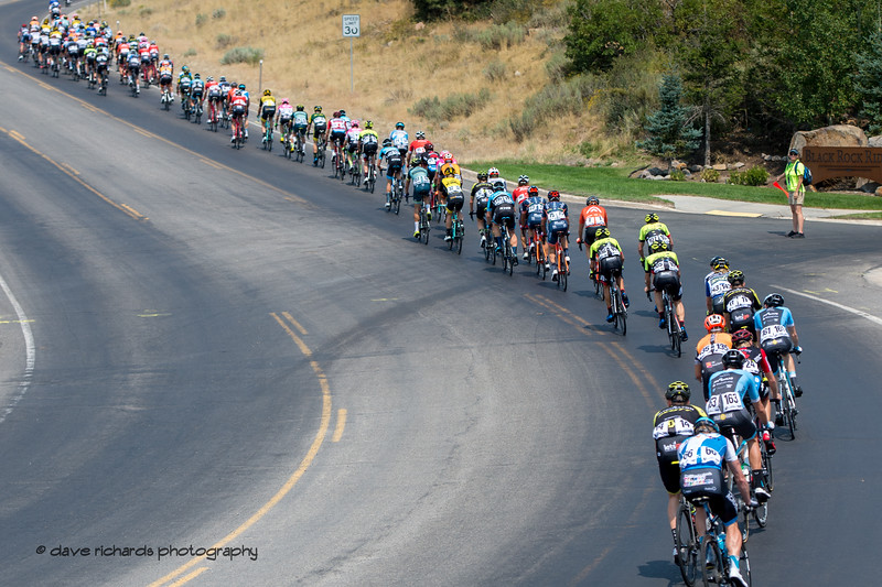 The peloton stretches out on a hill up towards Browns Canyon. Stage 6 - Park City, 2018 LHM Tour of Utah cycling race (Photo by Dave Richards, daverphoto.com)