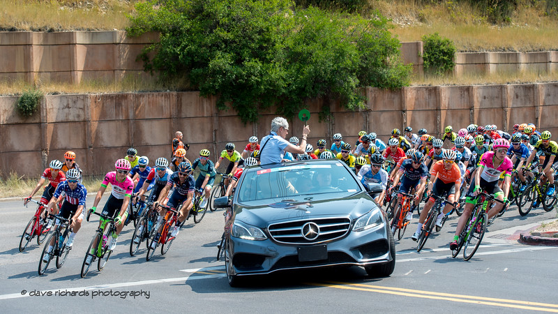 The peloton follows the race official car during the neutral start in Park City during Stage 6 - Park City, 2018 LHM Tour of Utah cycling race (Photo by Dave Richards, daverphoto.com)