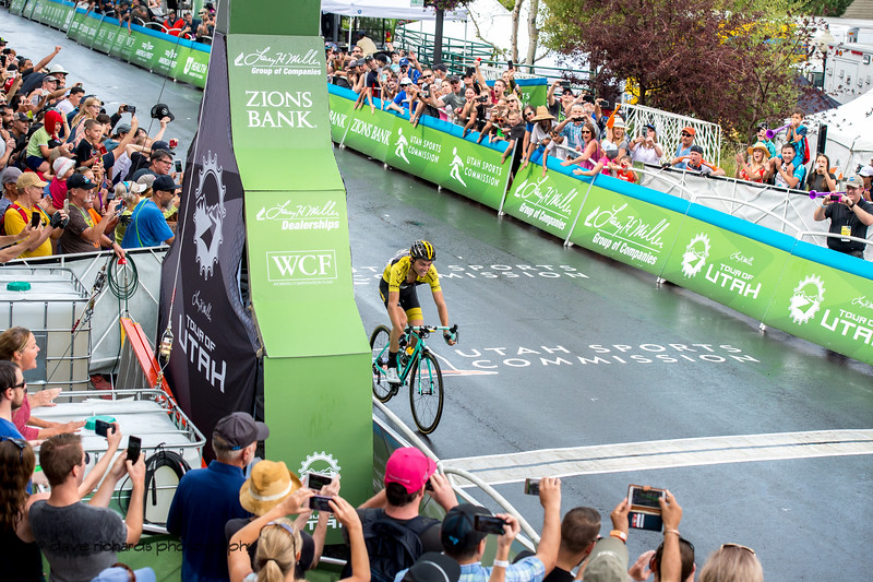 The fans go wild as Sepp Kuss (Team Lotto NL-Jumbo) crosses the line to win his 3rd stage of the race on a solo breakaway. Stage 6 - Park City, 2018 LHM Tour of Utah cycling race (Photo by Dave Richards, daverphoto.com)