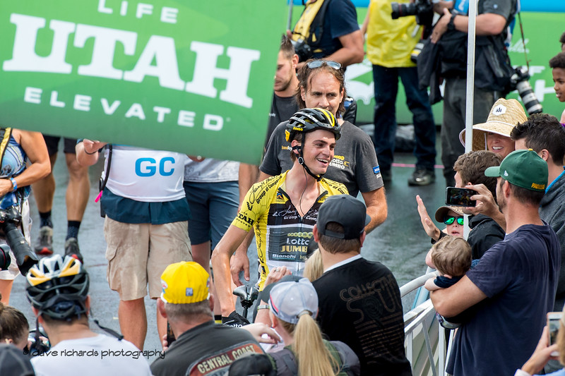 Sepp Kuss (Team Lotto NL-Jumbo) greets his fans after winning Stage 6 and the overall race.. 2018 LHM Tour of Utah cycling race (Photo by Dave Richards, daverphoto.com)