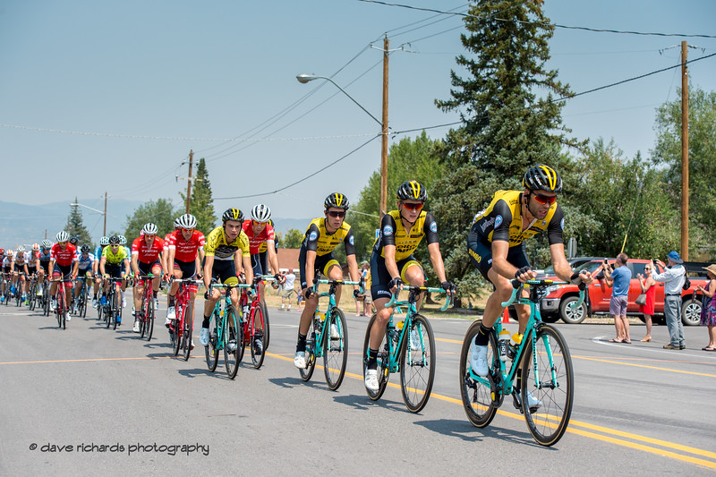 The peloton charges into the town of Kamas during Stage 6 - Park City, 2018 LHM Tour of Utah cycling race (Photo by Dave Richards, daverphoto.com)