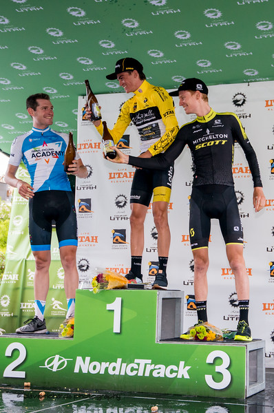 A toast to the top three riders, 2018 LHM Tour of Utah cycling race (Photo by Dave Richards, daverphoto.com)