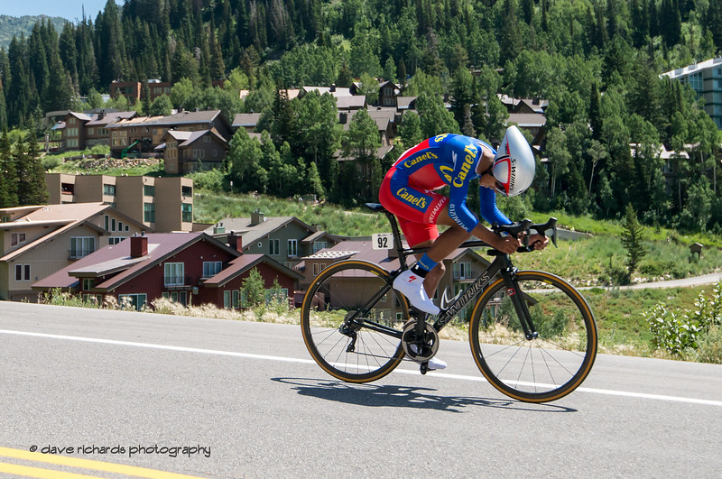 FerenSantos Moreno (Canel's Specialized) has his head down and looking for speed. Prologue at Snowbird, 2019 LHM Tour of Utah (Photo by Dave Richards, daverphoto.com)