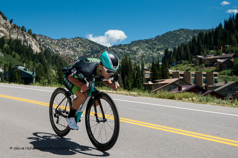Tucked in tight going fast. Prologue at Snowbird, 2019 LHM Tour of Utah (Photo by Dave Richards, daverphoto.com)