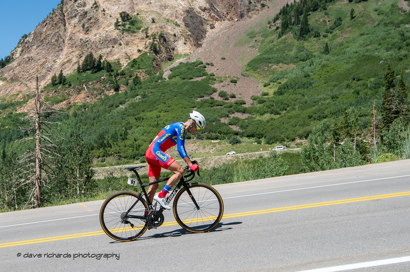 Oscar Sanchez Guarin (Canel's Specialized) is up out of the saddle in the climb up the Bypass Road during the Prologue at Snowbird, 2019 LHM Tour of Utah (Photo by Dave Richards, daverphoto.com)