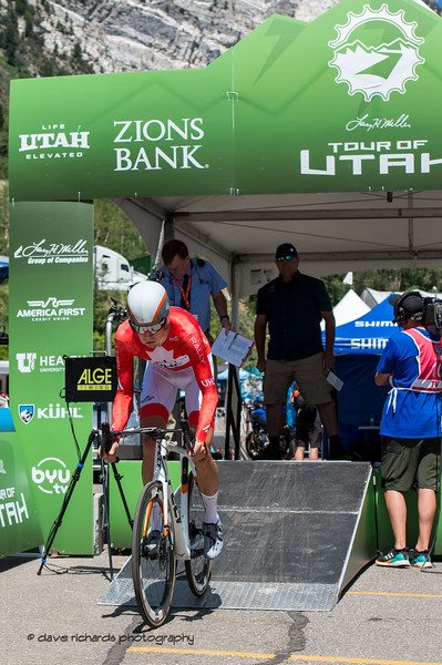 Past Tour of Utah champion Rob Britton (Rally UHC Cycling) rolls down the start ramp of the Prologue at Snowbird, 2019 LHM Tour of Utah (Photo by Dave Richards, daverphoto.com)