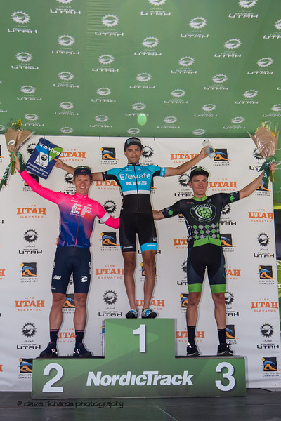 Prologue top three L-R Lawson Craddock (EF Education First) James Piccoli (Elevate-KHS Pro Cycling) Serghei Tvetcov ( Worthy Pro Cycling). Prologue at Snowbird, 2019 LHM Tour of Utah (Photo by Dave Richards, daverphoto.com)
