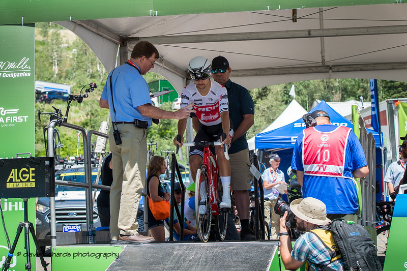 Trek-Segafredo rider gets the countdown at the start of the Prologue at Snowbird, 2019 LHM Tour of Utah (Photo by Dave Richards, daverphoto.com)