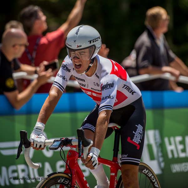 Juan Pedro Lopez (Trek-Segafredo) is in serious pain as he crosses the finish line of the Prologue at Snowbird, 2019 LHM Tour of Utah (Photo by Dave Richards, daverphoto.com)