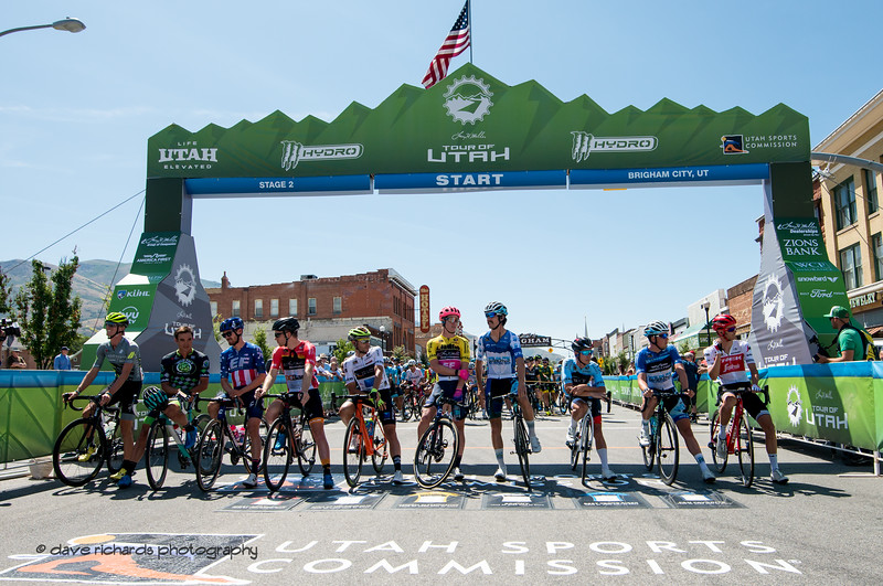 The  top riders are called to the line before the start of Stage 2 in downtown Brigham City , 2019 LHM Tour of Utah (Photo by Dave Richards, daverphoto.com)