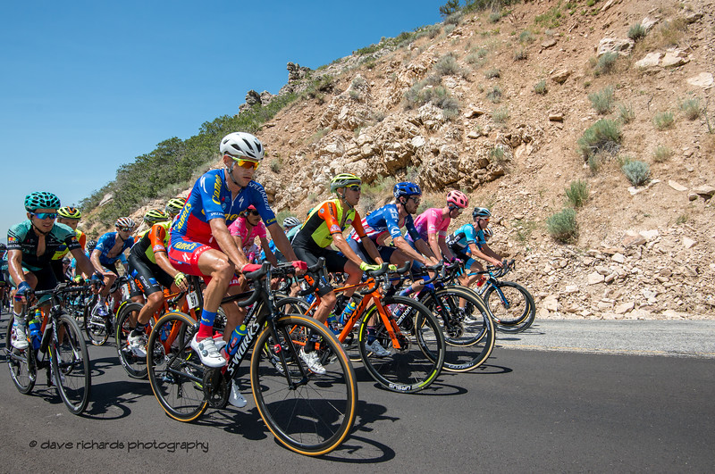 With a 6 man breakaway up the road, for the peloton, the chase is on. Stage 2 - Brigham City to Powder Mountain Resort, 2019 LHM Tour of Utah (Photo by Dave Richards, daverphoto.com)