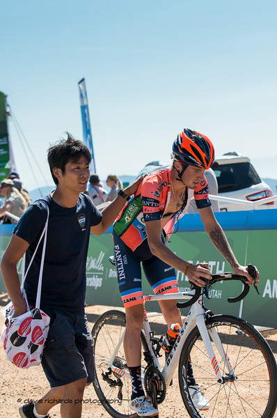 Nippo-Vini Fantin-Faizane soigneur tends to his exhausted rider at the finish of Stage 2 - Brigham City to Powder Mountain Resort, 2019 LHM Tour of Utah (Photo by Dave Richards, daverphoto.com)
