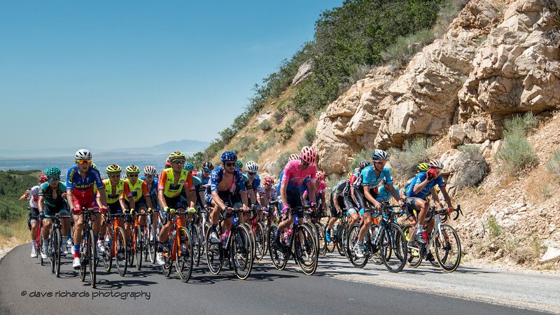 The peloton rides in tight formation up North Ogden Pass. Stage 2 - Brigham City to Powder Mountain Resort, 2019 LHM Tour of Utah (Photo by Dave Richards, daverphoto.com)