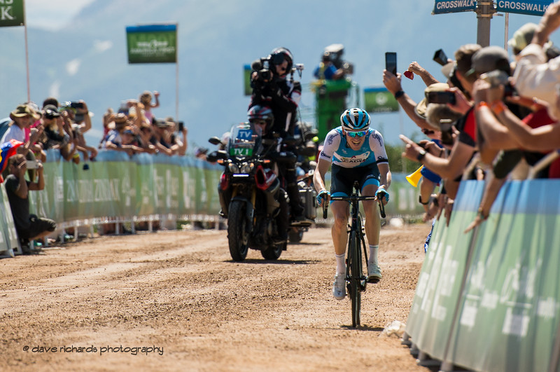 In a solo breakaway, Ben Hermans (Israel Cycling ACademy) hammers up the gravel section to the finish to win Stage 2 - Brigham City to Powder Mountain Resort, 2019 LHM Tour of Utah (Photo by Dave Richards, daverphoto.com)