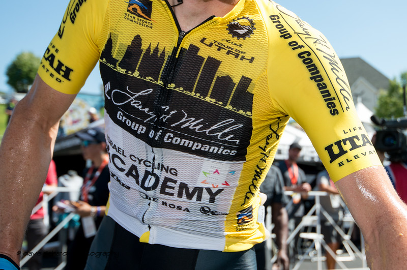 Yellow Jersey at the end of a hot day. Stage 3 - Antelope Island State Park to North Salt Lake City, 2019 LHM Tour of Utah (Photo by Dave Richards, daverphoto.com)
