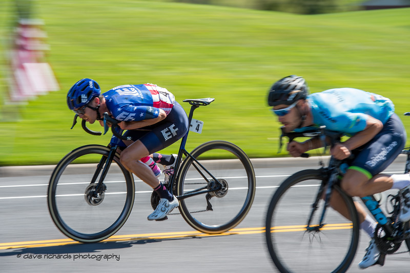 Getting aero on the fast drop in to the finish ine for the final circuits on Stage 3 - Antelope Island State Park to North Salt Lake City, 2019 LHM Tour of Utah (Photo by Dave Richards, daverphoto.com)