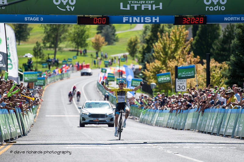 Ben Hermans (Israel Cycling Academy) wins the stage for the second day in a row. Stage 3 - Antelope Island State Park to North Salt Lake City, 2019 LHM Tour of Utah (Photo by Dave Richards, daverphoto.com)