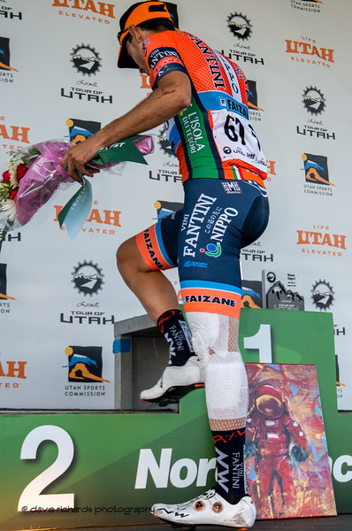 These guys are so tough. Two days ago he was a mess of blood and bandages. Today he fights on to win Stage 4 - Salt Lake City Circuit Race, 2019 LHM Tour of Utah (Photo by Dave Richards, daverphoto.com)