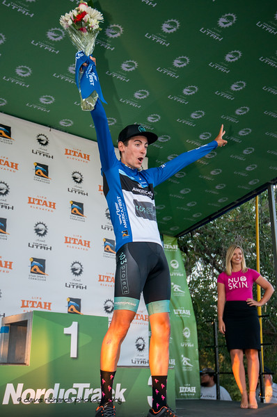 Bernat Font Mas (303 Project) is ecstatic to win the Fan Favorite Jersey on Stage 4 - Salt Lake City Circuit Race, 2019 LHM Tour of Utah (Photo by Dave Richards, daverphoto.com)