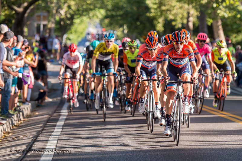 Nippo-Vini Fantini-Faizane leads the charge up the State Street climb. Stage 4 - Salt Lake City Circuit Race, 2019 LHM Tour of Utah (Photo by Dave Richards, daverphoto.com)