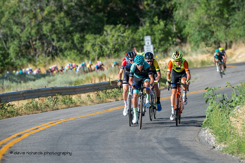 Early breakaway on the first lap of Stage 4 - Salt Lake City Circuit Race, 2019 LHM Tour of Utah (Photo by Dave Richards, daverphoto.com)