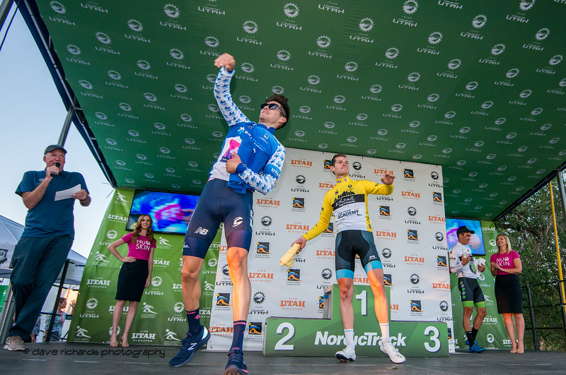 Jersey Leaders are hucking t-shirts out to the fans after Stage 4 - Salt Lake City Circuit Race, 2019 LHM Tour of Utah (Photo by Dave Richards, daverphoto.com)