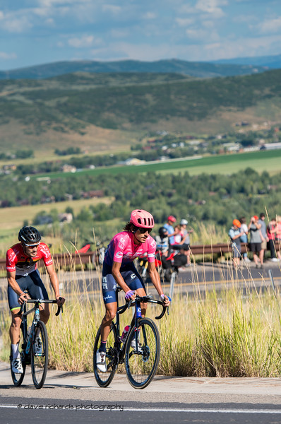 Lachlan Morton ( EF Education First) & Hayden McCormick (Team Brdigelane) lead the way on the final climb up through the Utah Olympic Park. Morton goes on to beat McCormick in a photo finish. Stage 5 - Canyons Village Park City Mountain Resort, 2019 LHM Tour of Utah (Photo by Dave Richards, daverphoto.com)