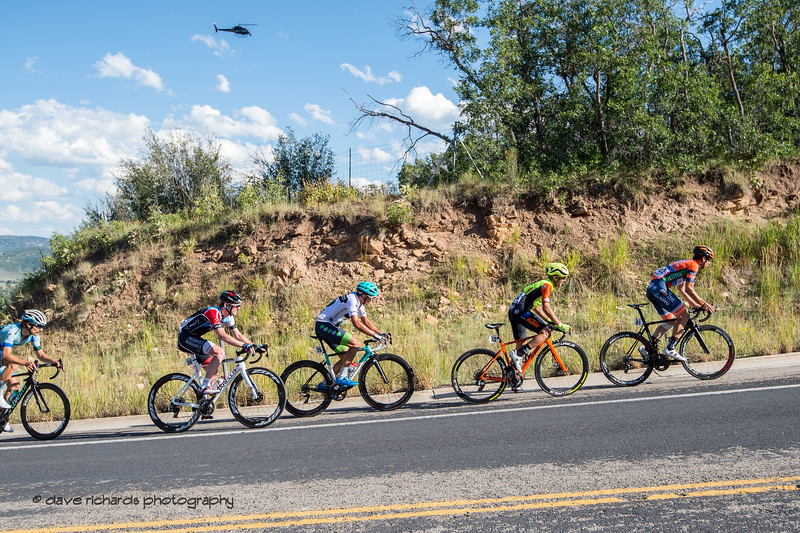 Helicopter oversees the breakaway on the day's final climb up through Utah Olympic Park. Stage 5 - Canyons Village Park City Mountain Resort, 2019 LHM Tour of Utah (Photo by Dave Richards, daverphoto.com)