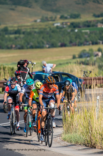 Breakaway on the climb through Utah Olympic Park. Stage 5 - Canyons Village Park City Mountain Resort, 2019 LHM Tour of Utah (Photo by Dave Richards, daverphoto.com)