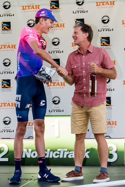 Jeff Robins, DEO Utah Sports Commission congratulates Joe Dombrowski (EF Education First) on his Stage 6 win. 2019 LHM Tour of Utah (Photo by Dave Richards, daverphoto.com)