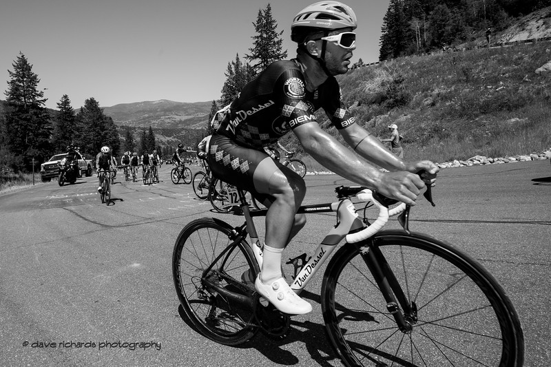 Like an oldtime climb of the Tour de France, the Wolf Creek Ranch climb just seems to go on forever. Stage 6, 2019 LHM Tour of Utah (Photo by Dave Richards, daverphoto.com)