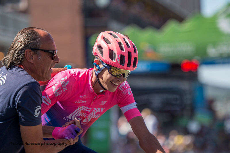 Joe Dombrowski (EF Edcuation First) is congratulated by his team soigneur after winning Stage 6, 2019 LHM Tour of Utah (Photo by Dave Richards, daverphoto.com)