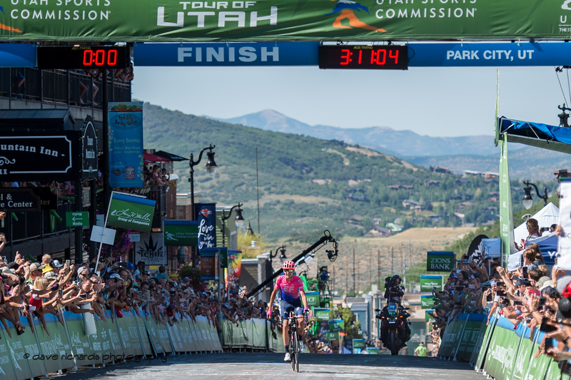 Joe Dombrowski (EF Edcuation First) takes the win on Stage 6 after putting in a tough attack on the final climb up Empire Pass before the finish on Main Street Park City.  Stage 6, 2019 LHM Tour of Utah (Photo by Dave Richards, daverphoto.com)