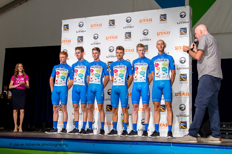 Team Dauner|Akkon riders. Team Presentation at Snowbird, 2019 LHM Tour of Utah (Photo by Dave Richards, daverphoto.com)