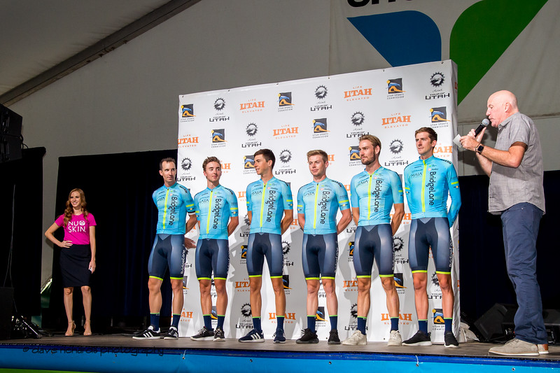 Team Bridgelane riders. Team Presentation at Snowbird, 2019 LHM Tour of Utah (Photo by Dave Richards, daverphoto.com)