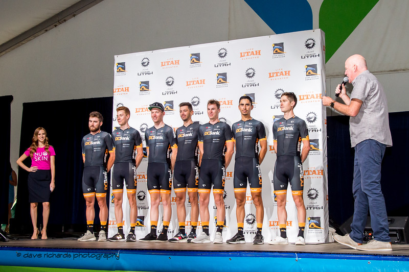 DC Bank Pro Cycling Team riders. Team Presentation at Snowbird, 2019 LHM Tour of Utah (Photo by Dave Richards, daverphoto.com)