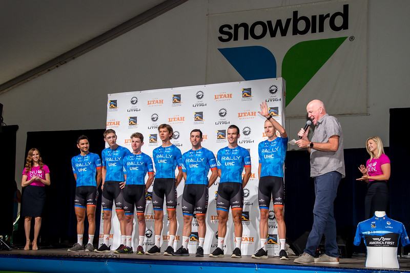 Rally UHC Cycling riders. Team Presentation at Snowbird, 2019 LHM Tour of Utah (Photo by Dave Richards, daverphoto.com)