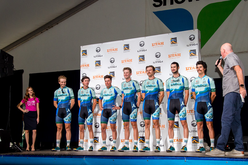 Wildlife Generation Pro Cycling p/b Maxxis riders. Team Presentation at Snowbird, 2019 LHM Tour of Utah (Photo by Dave Richards, daverphoto.com)