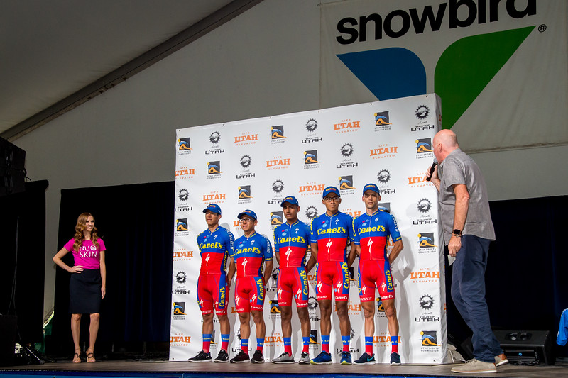 Canel's-Specialized riders. Team Presentation at Snowbird, 2019 LHM Tour of Utah (Photo by Dave Richards, daverphoto.com)