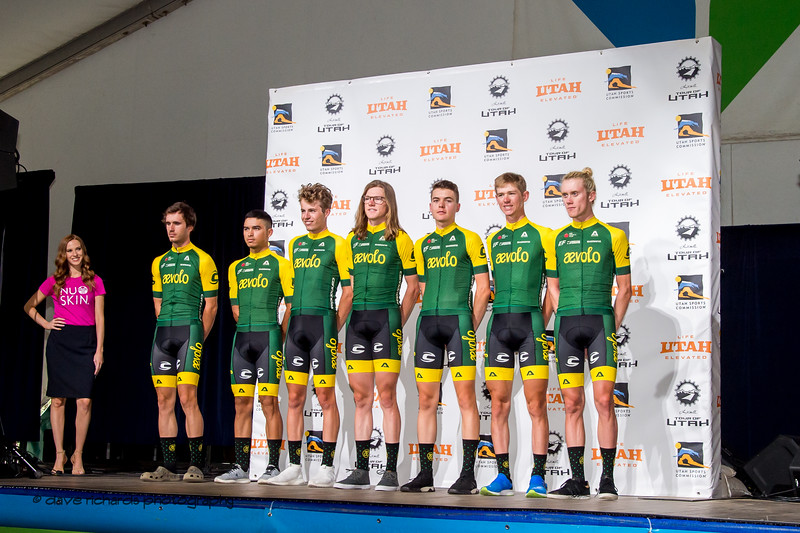 Aevolo riders. Team Presentation at Snowbird, 2019 LHM Tour of Utah (Photo by Dave Richards, daverphoto.com)