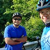With former office buddy at Watchung Reservation