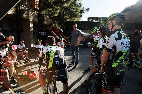 Axel Mercks coaching the team at camp before the ride.