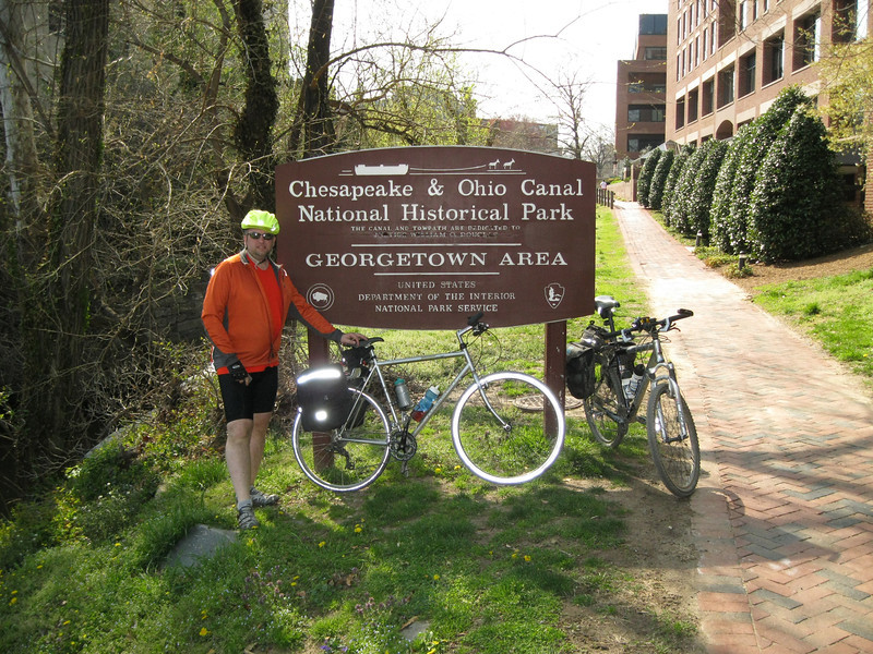 Thoroughly chuffed, having reached the end of the C&O trail.